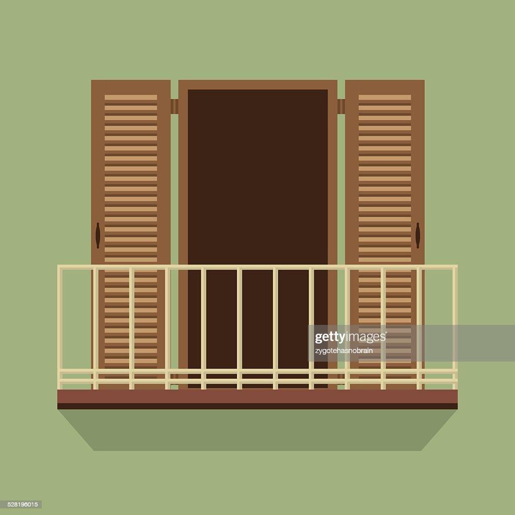 Open Door With Balcony Vintage Style