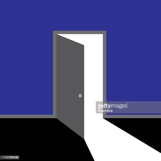 open door with light - door stock illustrations