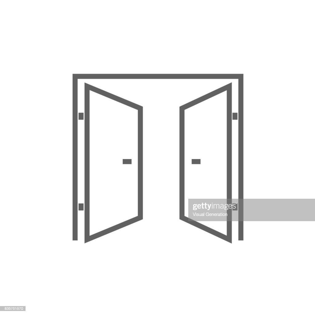 Open doors line icon