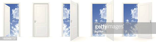 open doors to sky - open stock illustrations