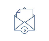 Open email with paper coming out. Vector icon with number of unread messages