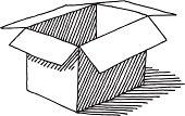 Open Empty Cardboard Box Drawing