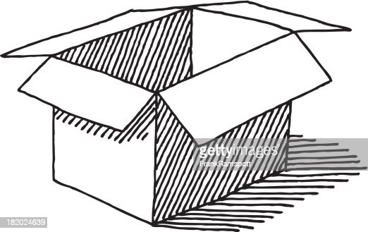 Line Art Box Designs : Open empty cardboard box drawing vector art getty images