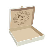 Open empty pizza box. Sample packaging on white