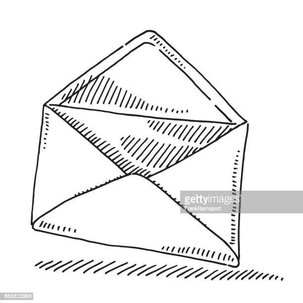 open envelope drawing - envelope stock illustrations, clip art, cartoons, & icons