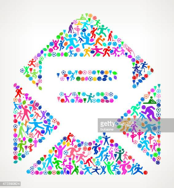 open envelope fitness sports and exercise pattern vector backgro - leisure facilities stock illustrations, clip art, cartoons, & icons
