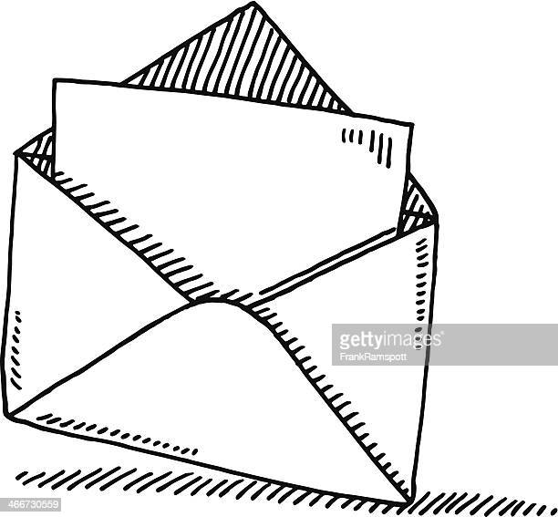 open envelope letter symbol drawing - envelope stock illustrations, clip art, cartoons, & icons