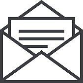 Open envelope outline icon, modern minimal flat design style