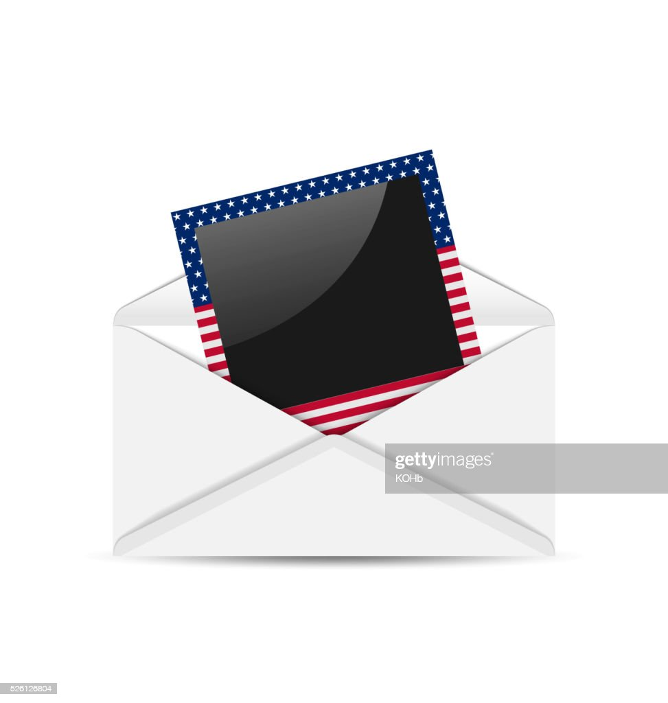 Open envelope with photo frame in US national colors