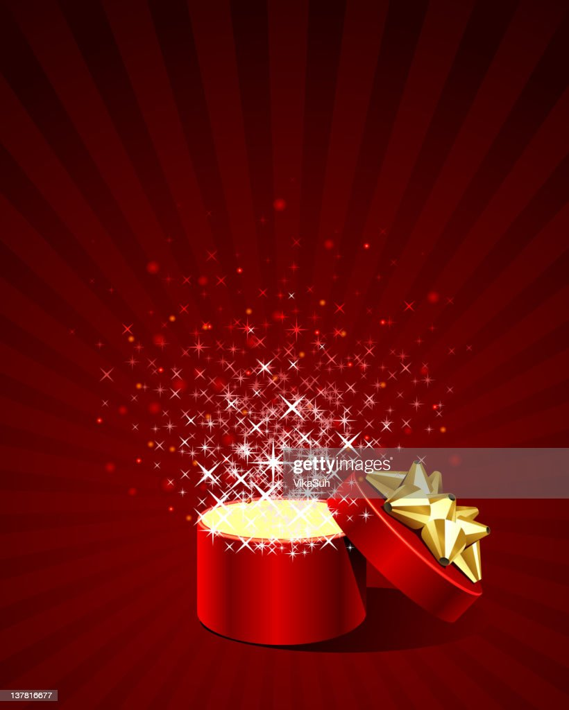 Open explosion cylinder gift present with fly confetti