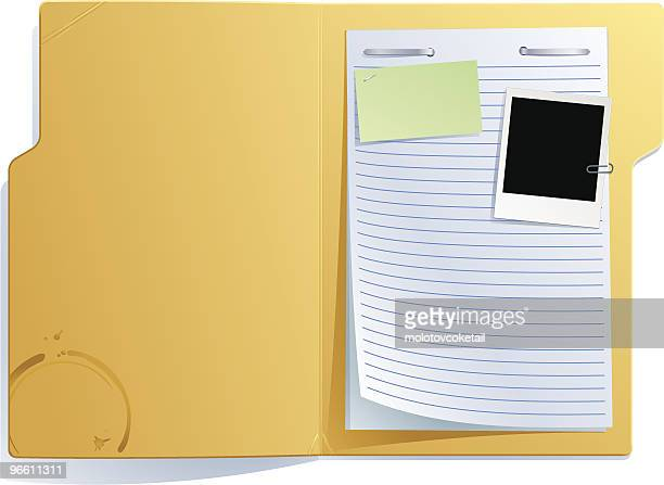 open folder - paper clip stock illustrations, clip art, cartoons, & icons