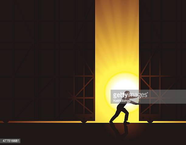 open for business, warehouse doors at sunrise background - opening event stock illustrations