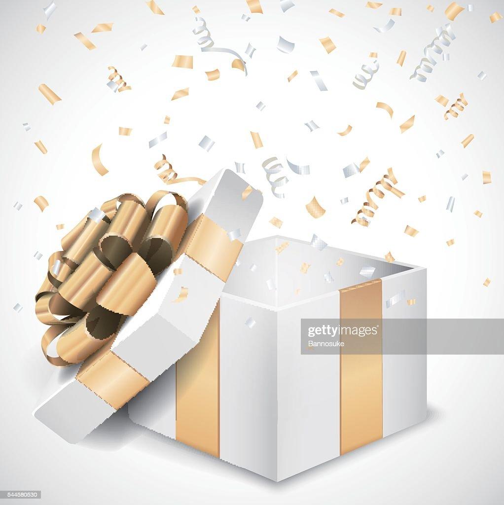 Open gift box and confetti