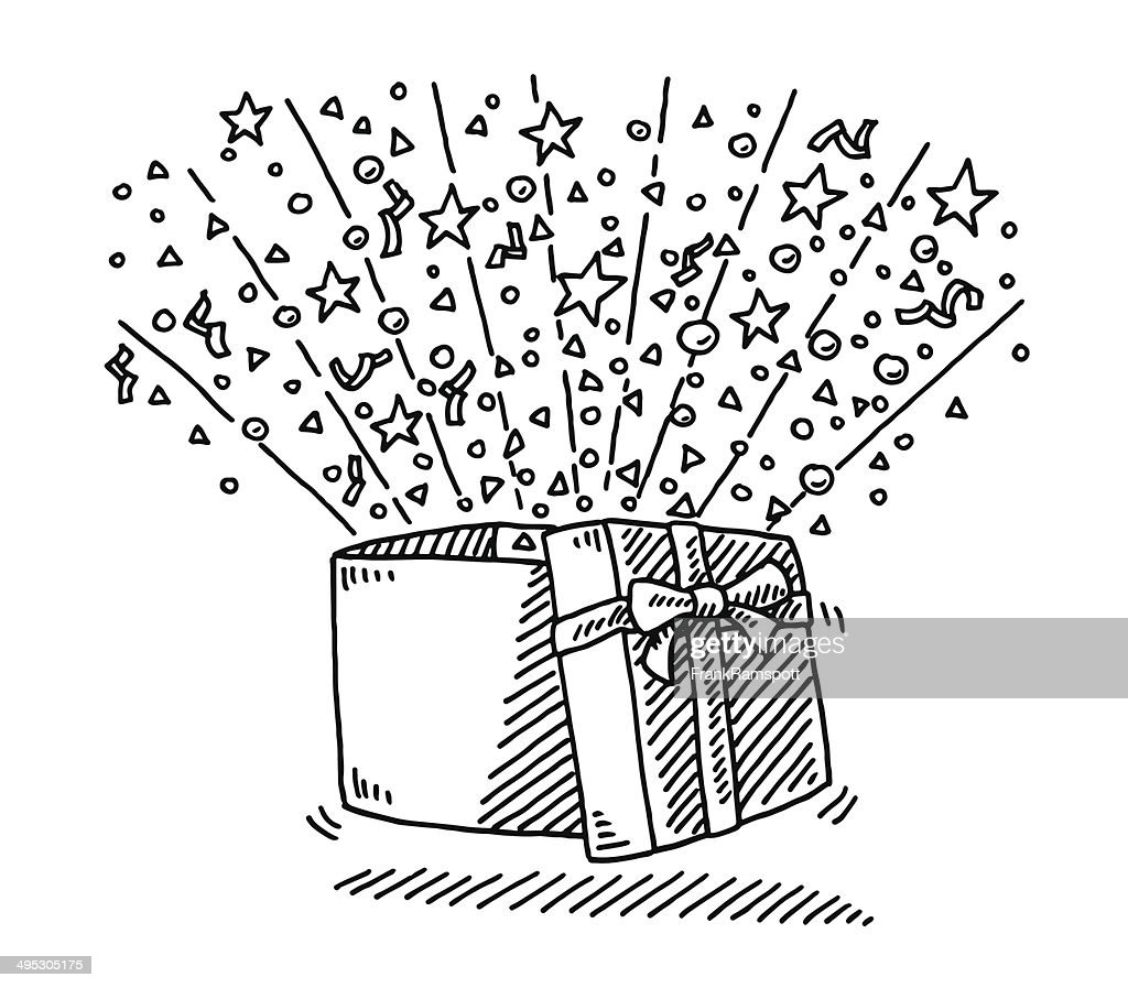 Open Gift Box Surprise Drawing Vector Art
