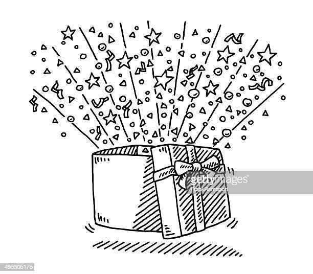 ilustraciones, imágenes clip art, dibujos animados e iconos de stock de abrir la caja de regalo sorpresa dibujo - caja de regalo
