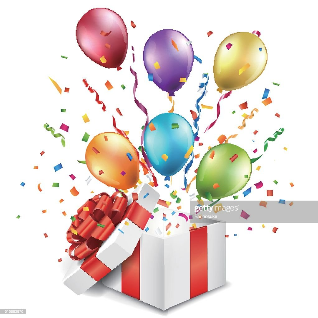 Open gift box with colorful balloons