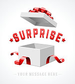 Open gift box with red bow and ribbon vector background