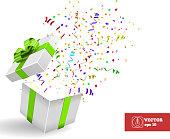 Open Giftbox with Confetti. Vector Background