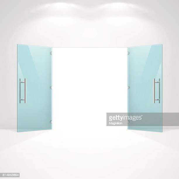 open glass doors - open stock illustrations