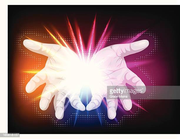 open hands. - vector - stretched image stock illustrations, clip art, cartoons, & icons