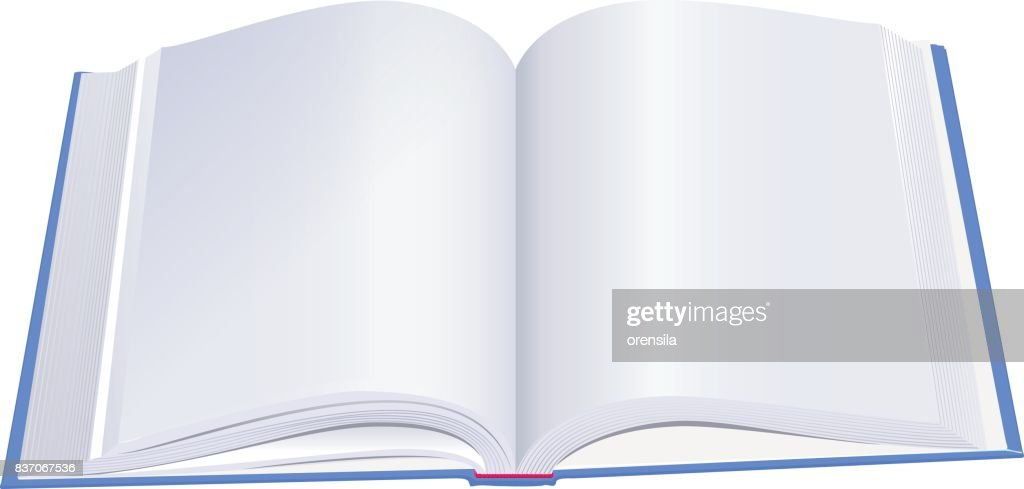 Open hardcover book with blue cover
