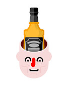 Open head and bottle of whiskey. Alcohol in head. Alcoholic Brain
