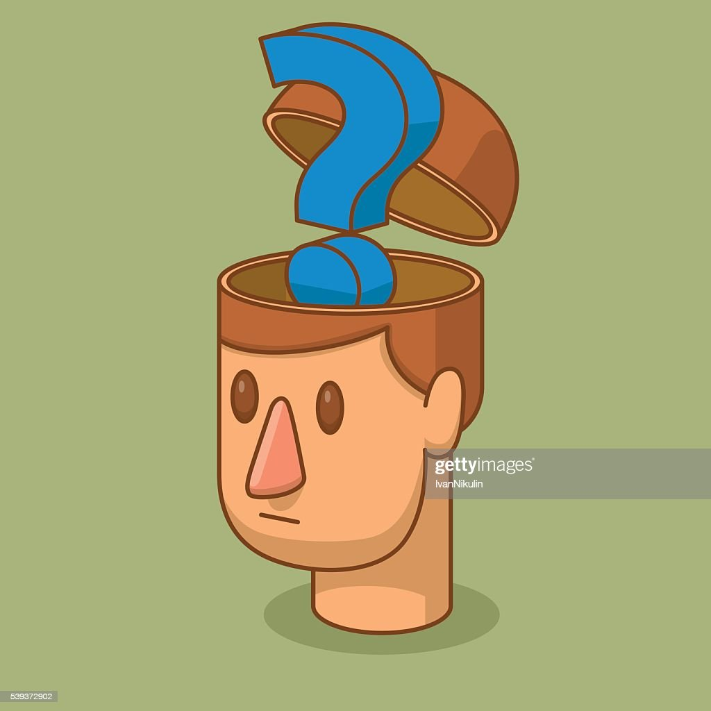 Open head of man with a blue question mark