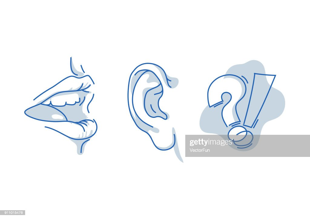 Open human mouth, speaking and listening. Hearing and understanding the words. Human sense isolated on white background. Suitable for info graphics, websites and print media.