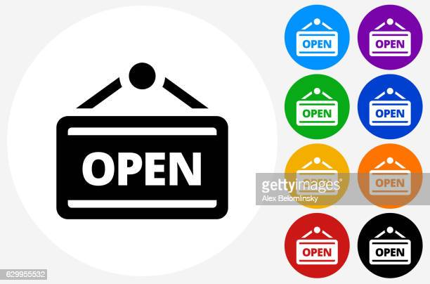 open icon on flat color circle buttons - open sign stock illustrations, clip art, cartoons, & icons