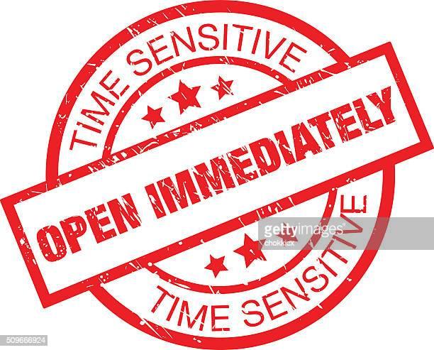 open immediately label - urgency stock illustrations
