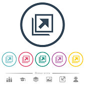 Open in new window flat color icons in round outlines