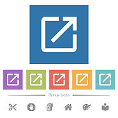 Open in new window flat white icons in square backgrounds