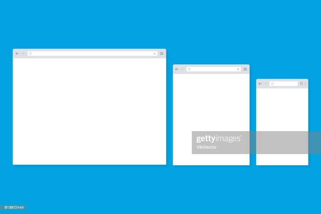 Open Internet browser window in a flat style