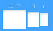Open internet browser window of computer laptop, mobile phone or smartphone and tablet. Vector flat blank template of browser interface