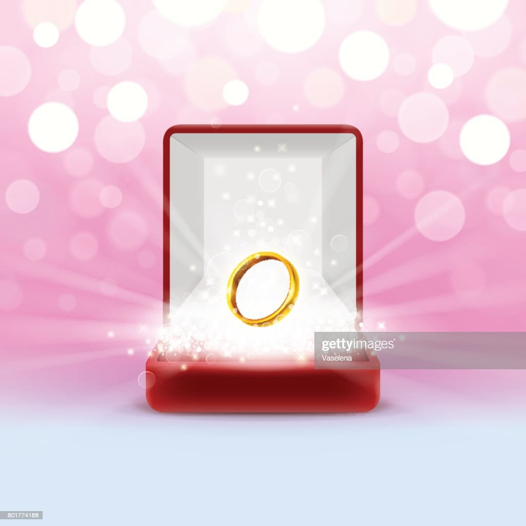 Open Jewelry Box With Gold Wedding Ring Vector Art | Getty Images