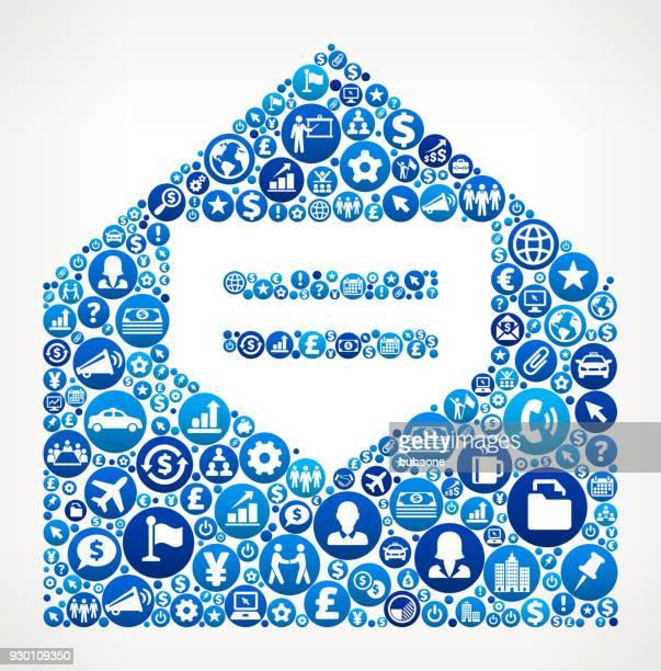stockillustraties, clipart, cartoons en iconen met open brief business and finance blauwe pictogram patroon - e mail