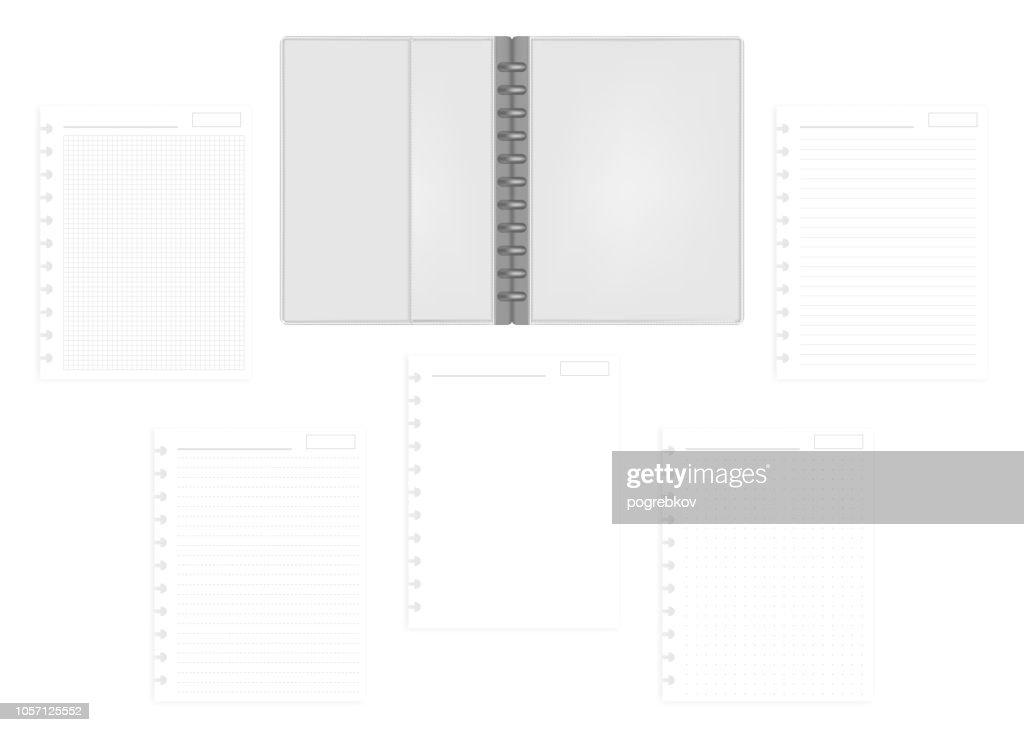 Open letter size disc bound notebook folder with filler paper, mockup
