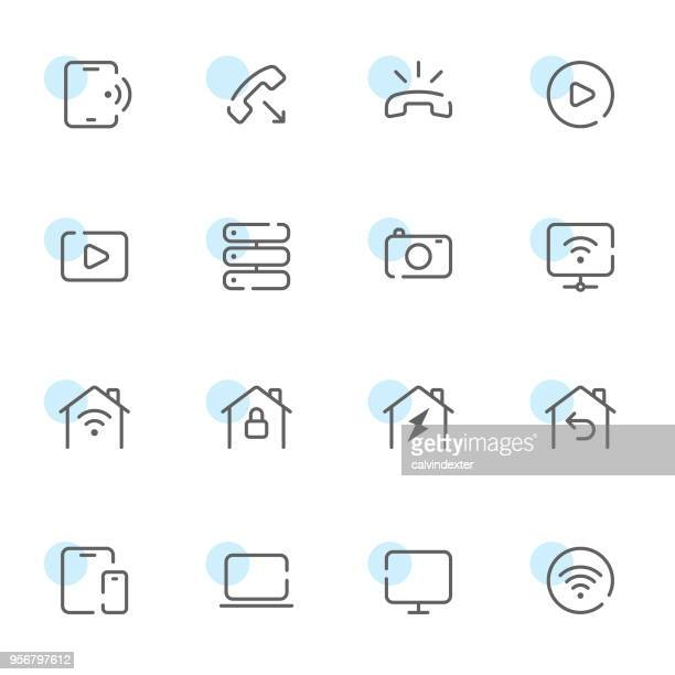 Open line icons digital communications set 4