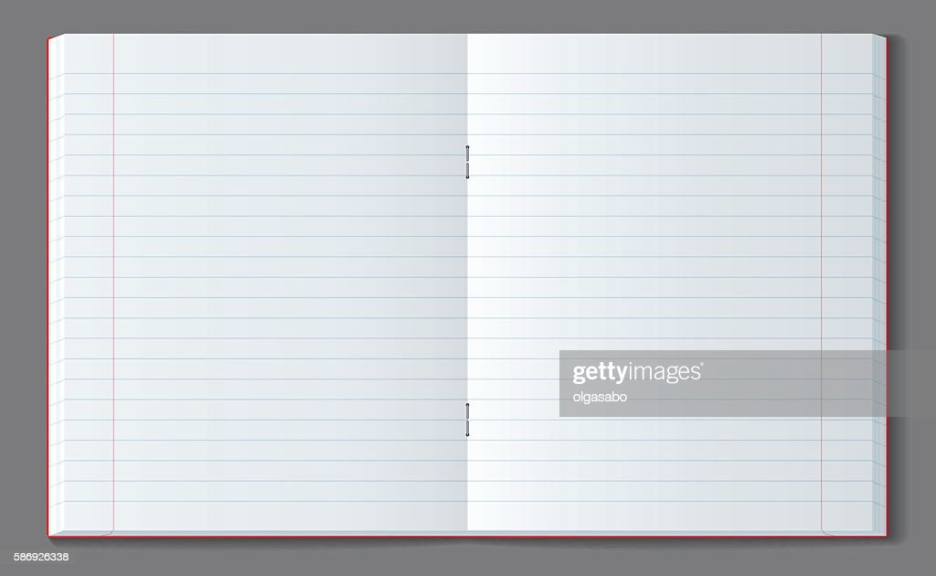 Open line notebook with soft transparent shadow.