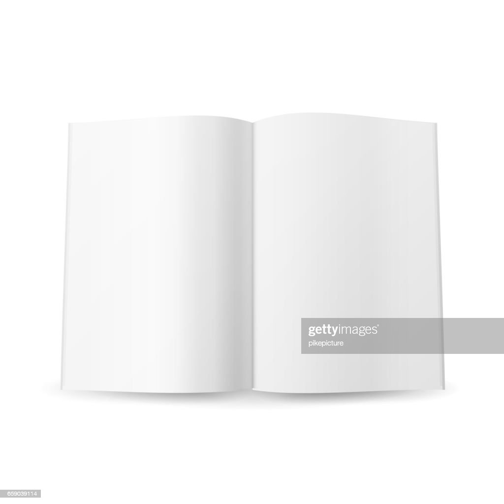 Open Magazine Spread Blank Vector. Isolated On White Background