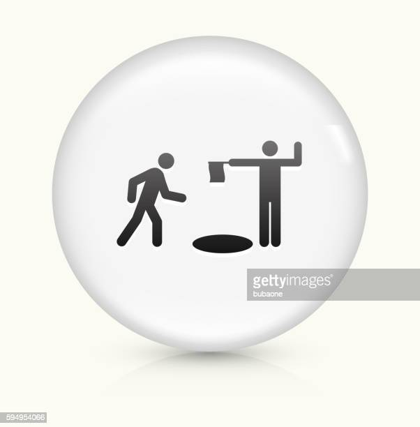 Open Manhole icon on white round vector button