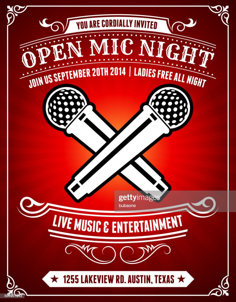 Open Mic Night on Red Poster Background : stock illustration