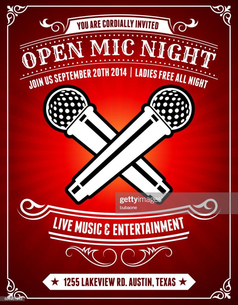 Mic 夜オープンのポスターの背景に赤の : ストックイラストレーション