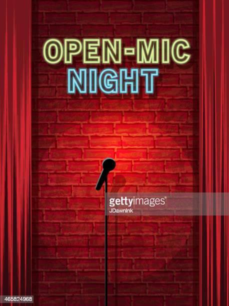 ilustrações, clipart, desenhos animados e ícones de aberto microfone noite palco com placa de neon e parede de tijolos - aberto