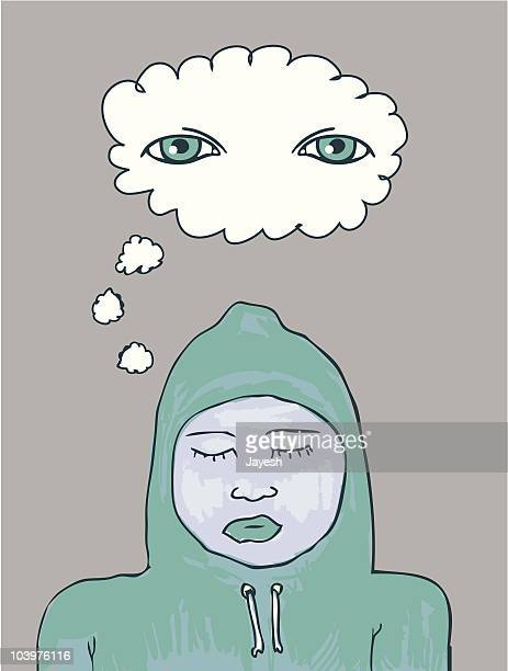 open mind - eyes closed stock illustrations, clip art, cartoons, & icons