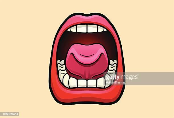 ilustrações, clipart, desenhos animados e ícones de boca aberta com lábios vermelhos gritando, gritar, conversando - boca humana