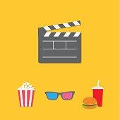 Open movie clapper board 3D glasses popcorn soda hamburger template