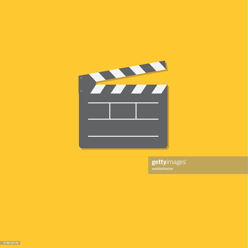 Open movie clapper board template icon. Flat design style.