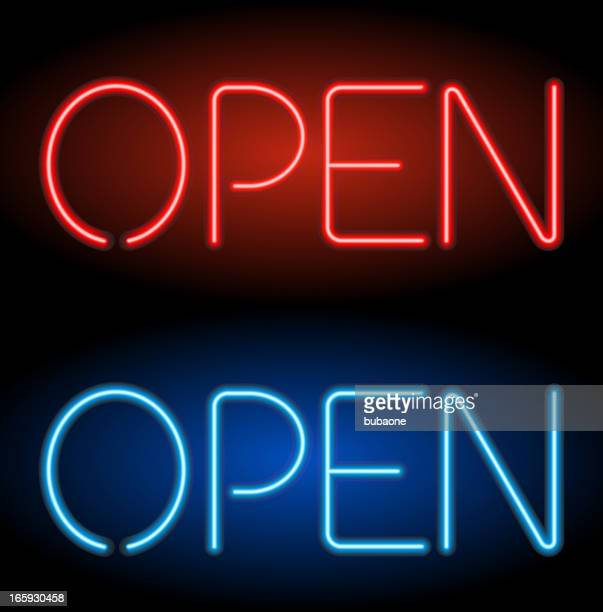 open neon sign - open sign stock illustrations, clip art, cartoons, & icons