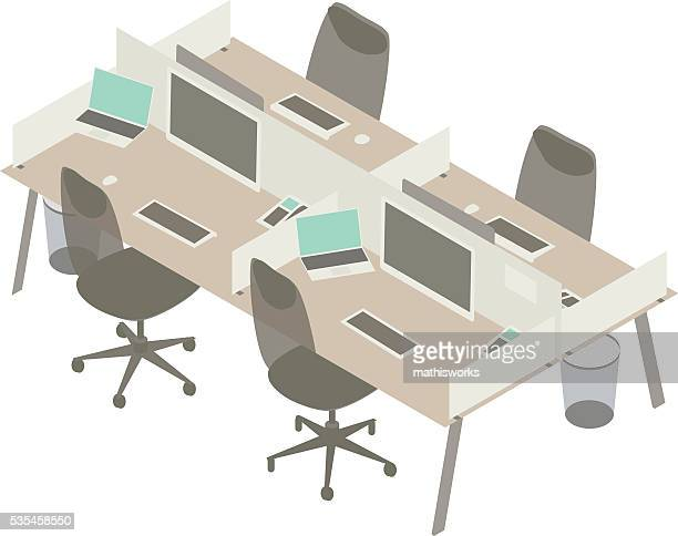 open office cubicles illustration - lunch break stock illustrations, clip art, cartoons, & icons